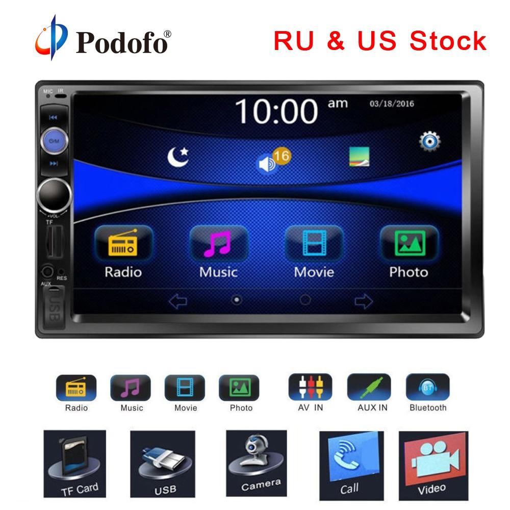 Podofo Авторадио 2din Радио 7 HD Сенсорный экран Bluetooth 2 din автомагнитолы USB SD мультимедиа MP5 плеер заднего вида Камера радио автомобиля