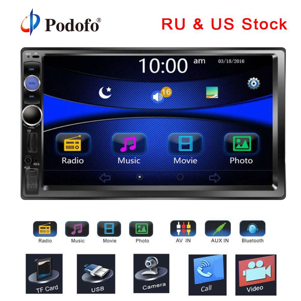 Podofo Autoradio 2din Radio 7 HD Touch Screen Bluetooth 2 din car radio USB SD Multimedia MP5 Player Rear View Camera Radio Car podofo 2 din car radio 7 hd audio stereo bluetooth multimedia player mp5 usb sd fm 2din touch screen autoradio rearview camera