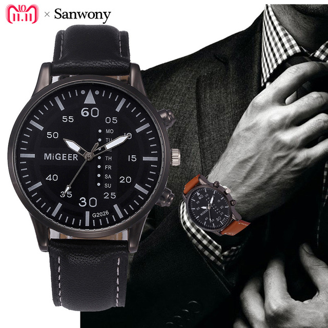 Retro Design Leather Band Analog Alloy Quartz Wrist Watch men's watches of the f