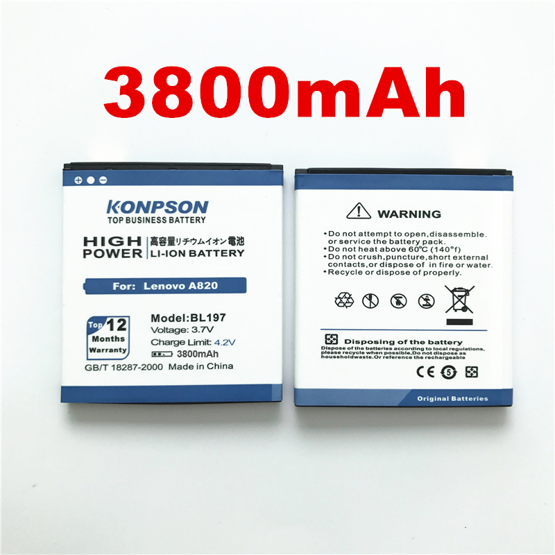 Helpful 100% Original Losoncoer New 3800mah Bl197 Battery For Lenovo A820 Battery A820t A800 S868t S750 S720i A798t S870e S899t Mobile Cellphones & Telecommunications Mobile Phone Parts