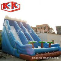 Na zewnątrz nadmuchiwany plac zabaw dla dzieci grę Coco niebieski nadmuchiwane wysokiej slajdów