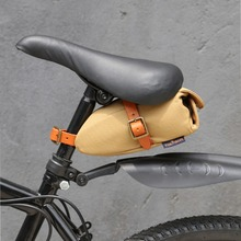 Tourbon Outdoor Vintage Khaki Bicycle Seat Tail Pouch Bag Bike Phone Key Case Wax Canvas Water Repellent Cycling Accessories tourbon vintage bicycle handlebar bag cycling backpack frame case full genuine leather pouch bike accessories