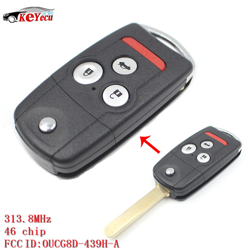 KEYECU 3+Panic Button New Replacement Remote Key Fod 313.8MHz ID46 Chip With FCC ID: OUCG8D-439H-A for Acura TL 2007-2008