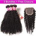 UNICE Brazilian Curly Virgin Hair 3PCS Send One Free Closure Hot Brazilian Curly Hair Bundles 2017 New Arrival Kinky Curly Hair