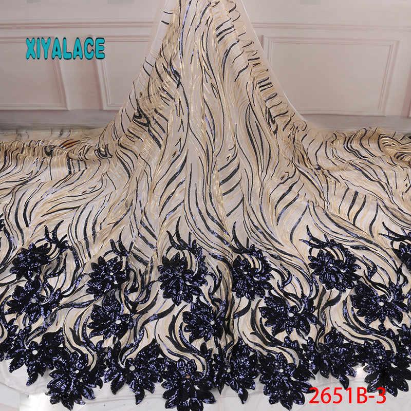 Tecido de Renda Francesa Organza africano Laço de Tecido De Luxo de Alta Qualidade 2019 New Arrival Lantejoulas Tecidos Rendas Para O Casamento YA2651B-1