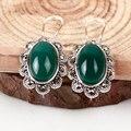 Старинные оникс агат халцедон Зеленый черный Букле серьги мода ретро 925-sterling-silver ювелирных изделий из индии