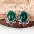 Vintage onyx agate chalcedony Green black Boucle stud earrings fashion retro 925-sterling-silver from india jewelry