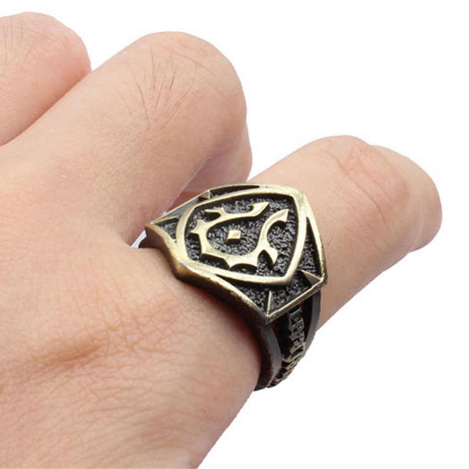 8607619f0 ... Strange Metal Punk Men Ring Fashion Game World of Warcraft Retro Alloy  Rings For WOW Fans