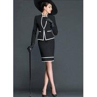 Elegant Woman Career Suits Slim Simple Knee Length Dress Women Business Office Blackwhite Mixed Colors Women