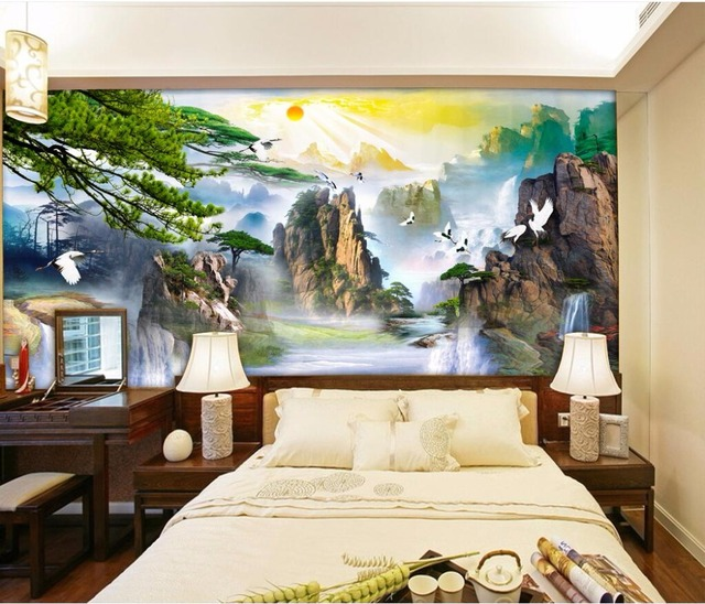 3d peintures murales de papier peint pour salon murs 3 d papier peint chinois montagne rivi re. Black Bedroom Furniture Sets. Home Design Ideas