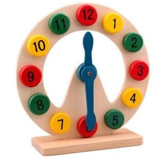 Деревянный Монтессори материалы блоки игрушки Цифровой Геометрии Часы детские развивающие игрушки для мальчика и подарки для девочек w082
