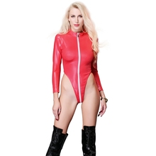 Sexy wetlook Lingerie Latex Women pvc Bodysuit Black Catsuit Open Crotch Costumes Hot Erotic Clubwear Plus Size