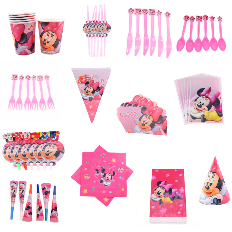 New Disposable Tableware Set Napkin Paper Plate Cup Minnie Mouse Theme Birthday Party Decorations Kid Girl Party Supplies Favor