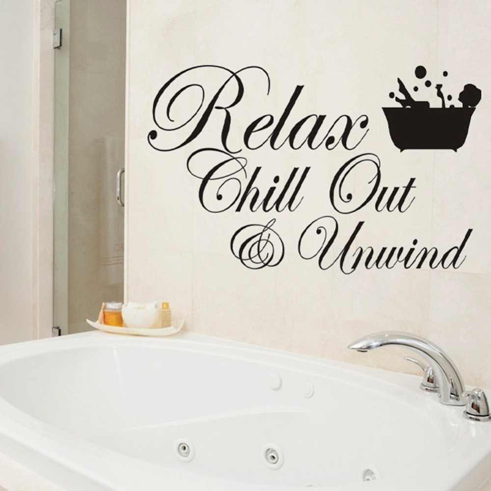 BATHROOM Wall Stickers RELAX  CHILL ENJOY UNWIND Quote Art Removable DIY Decals