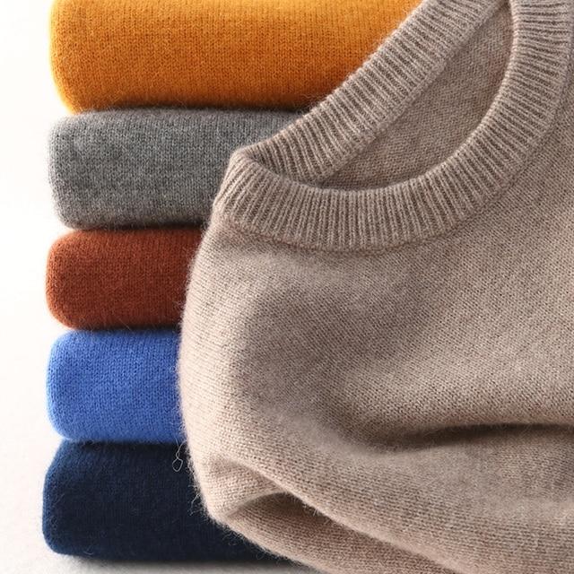 Camisola da caxemira do algodão dos homens 2019 outono inverno Jumper de camisa Robe hiver homme hombre puxar homens pullover o-pescoço blusas de Malha