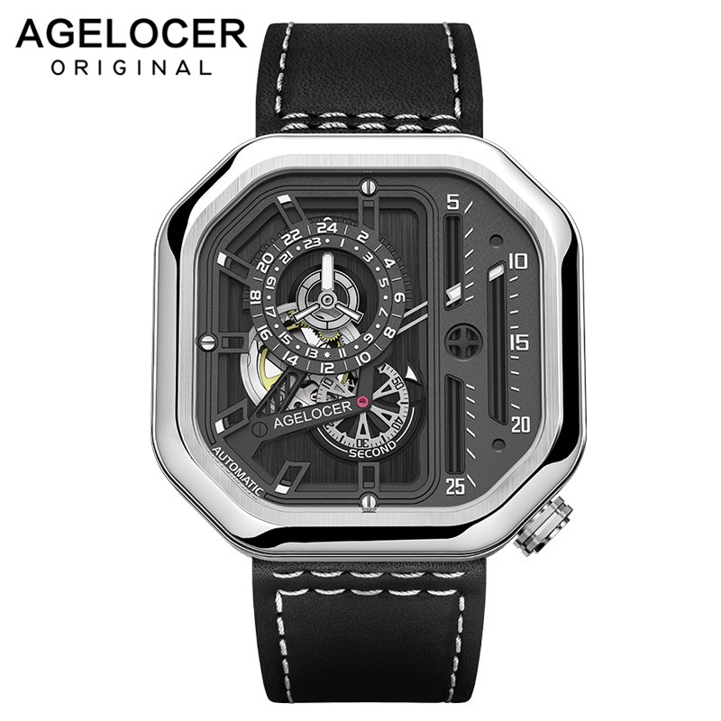 AGELOCER Big Sport Watch Men Swiss Luminous Analog Self-wind Mechanical Watches Top Brand Black Watch relogio masculinoAGELOCER Big Sport Watch Men Swiss Luminous Analog Self-wind Mechanical Watches Top Brand Black Watch relogio masculino