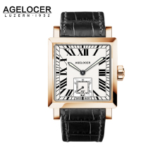 AGELOCER Watches Men Sports Watches Black steel Dual Time With Calendar Luminous Analog Gift Wristwatch Man Square Seconds Dial
