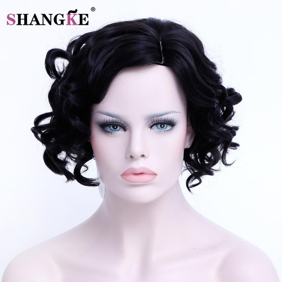 shengke pelo corto y rizado peluca negro natural para el blanco negro mujer a prueba de