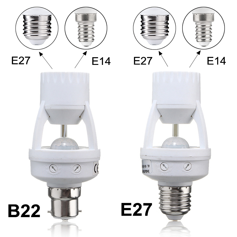 Lamp Base E27/B22 To E14/E27 PIR Induction Infrared Motion Sensor Switch Socket Lamp Base Holder Light Bulb AC 110-240V pir motion sensor lamp holder 180 240v