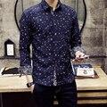 Nuevo 2016 moda decoración del bloque del color de manga larga para hombre comercial shirt slim fit camisas casual chemise homme tamaño m-3xl / TJ4