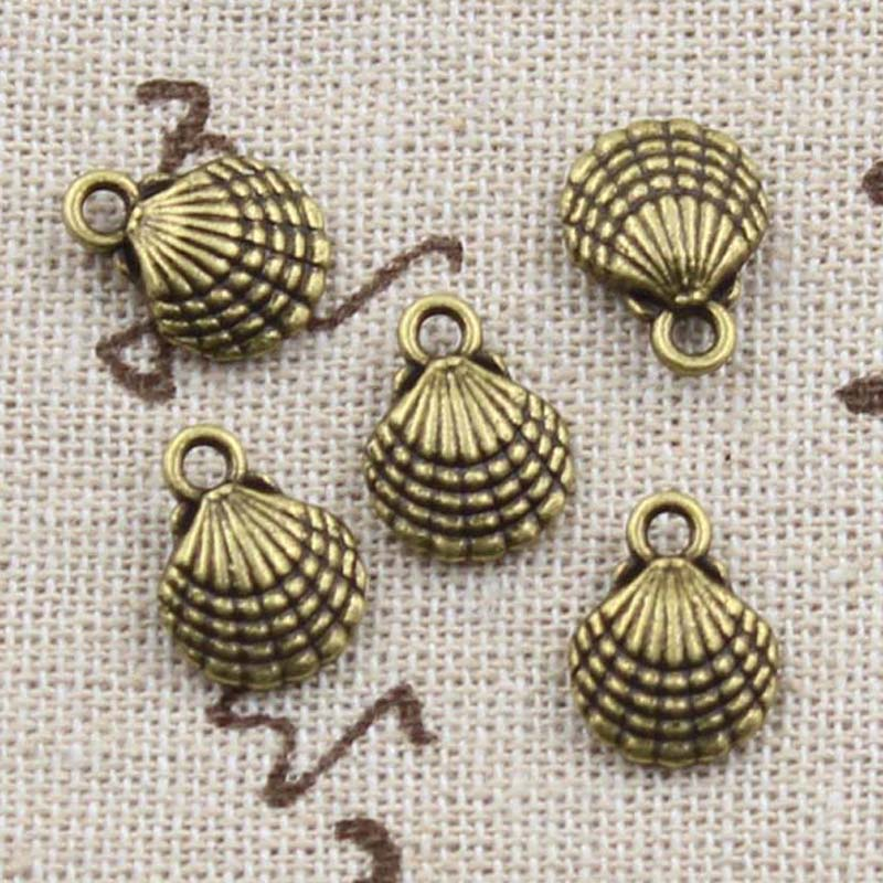 15pcs Charms Double Sided Lovely  Shell 13x10mm Antique Making Pendant fit,Vintage Tibetan Bronze,DIY Handmade Jewelry 2