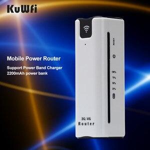 Image 3 - KuWFi 21.6Mbps kilidi açık seyahat 3G WIFI yönlendirici kablosuz akıllı mobil wifi router güç bankası sim kartlı router yuvası