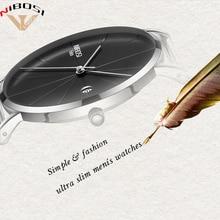 Saat Nibosi Luxury Brand Watches Men Mesh Band Fashion Simple Watch Clock Man Black Ultra Thin For Relogio Masculino