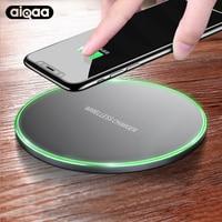 Aiqaa 10 Вт QI Беспроводной Зарядное устройство для iphone 8/X быстро Беспроводной зарядки для Samsung S8/S8 + /S7 Edge Nexus5 Lumia 820 USB Зарядное устройство pad