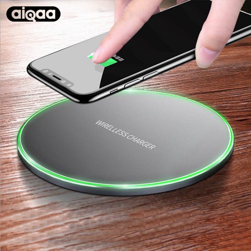 Aiqaa 10 W Qi Chargeur Sans Fil Pour iPhone 8/X Rapide Sans Fil de charge pour Samsung S8/S8 +/S7 Bord Nexus5 Lumia 820 USB Chargeur Pad