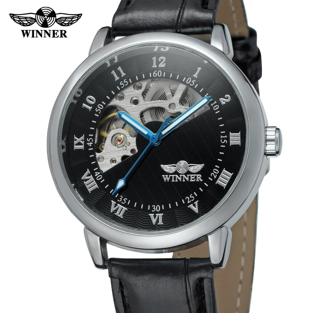 T WINNER 2017 Latest Men S Automatic Movement Skeleton Dial Leather Strap Mechanical Classic Original Wrist