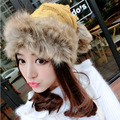 New winter warm thickening wool cap scarf dual-use knit hat fashion fur princess Mongolia hat burst models MZ-4#