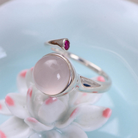 MetJakt Natural 1cm Rose Quartz with Ruby Rings Solid 925 Sterling Silver Open Ring for Women Light Luxury Vintage Jewelry