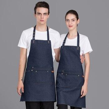 048ed585f Recién azul Jean Chef's accesorios impermeable Antifouling cocina delantal  restaurante Hotel café ropa de trabajo Tablier delantal