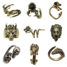 Punk Animal Ring Dog Dragon Wolf Head Bird Lion Head Eagle Claw Ring Men And Women Knight Ring Jewelry Christmas Gift Jewelry(China)