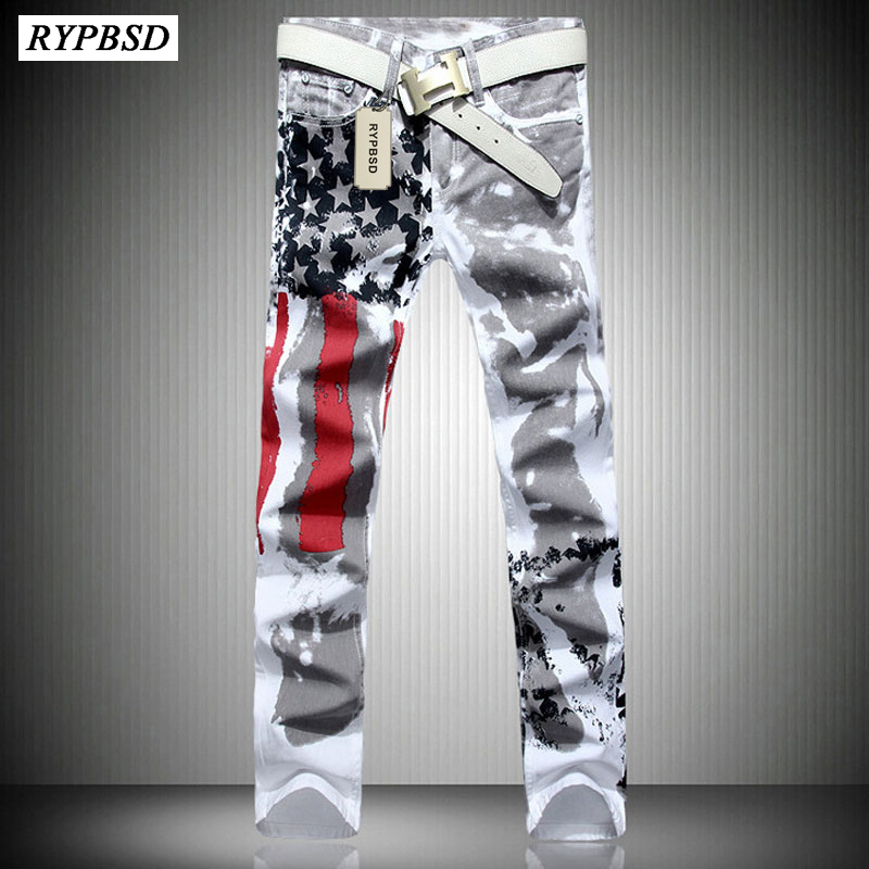 2019 Autumn New Fashion American Flag Printed White Jeans Pants Men With Elastic Large Size 28-46 Causal Male Straight Trousers