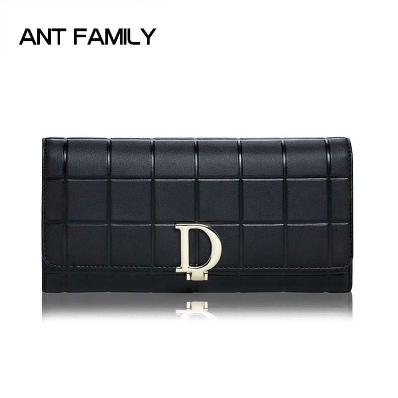 Genuine Leather Wallet Women Luxury Brand Plaid Coin Purse High Quality Female Long Clutch Ladies Leather Wallets Card Holder nawo real genuine leather women wallets brand designer high quality 2017 coin card holder zipper long lady wallet purse clutch