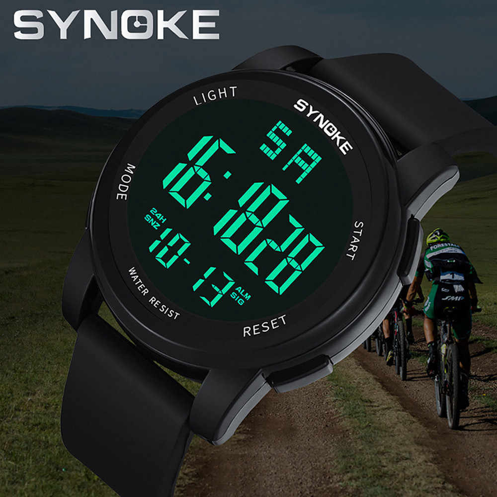 SYNOKE Mannen Horloges Multifunctionele Militaire Sport LED Dual Beweging man horloge mannen digitale horloge waterdicht relogio digitale