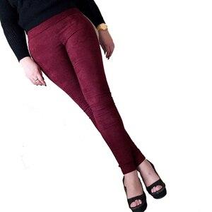 Image 2 - Pantalones de cuero de gamuza para mujer, pantalón ajustado, elástico, de cintura alta, estilo retro, Otoño Invierno, 2019