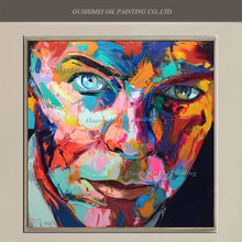 New Handmade Pop Singer Portrait Painting David Bowie Face Knife Oil Painting Wall Art for Living Room Decor Abstract Character(China)