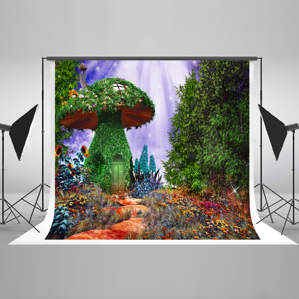 Kate Fairy Tale Forest Photography Backdrop Mushroom Baby Shower Backdrop Tree Microfiber Washable Photo Studio Backdrop