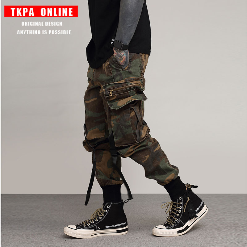 TKPA Mens Joggers Pants Military Style Casual Pants Camouflage Sweatpants Multi Pockets Cargo Pants Fashion Streetwear