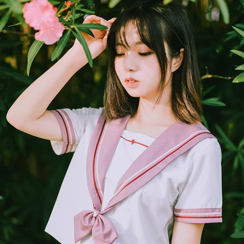UPHYD Japanese Anime School Uniform Pink Heart Embroideried JK Uniforms College Wind Student Class Suit Chorus Sailor Suits