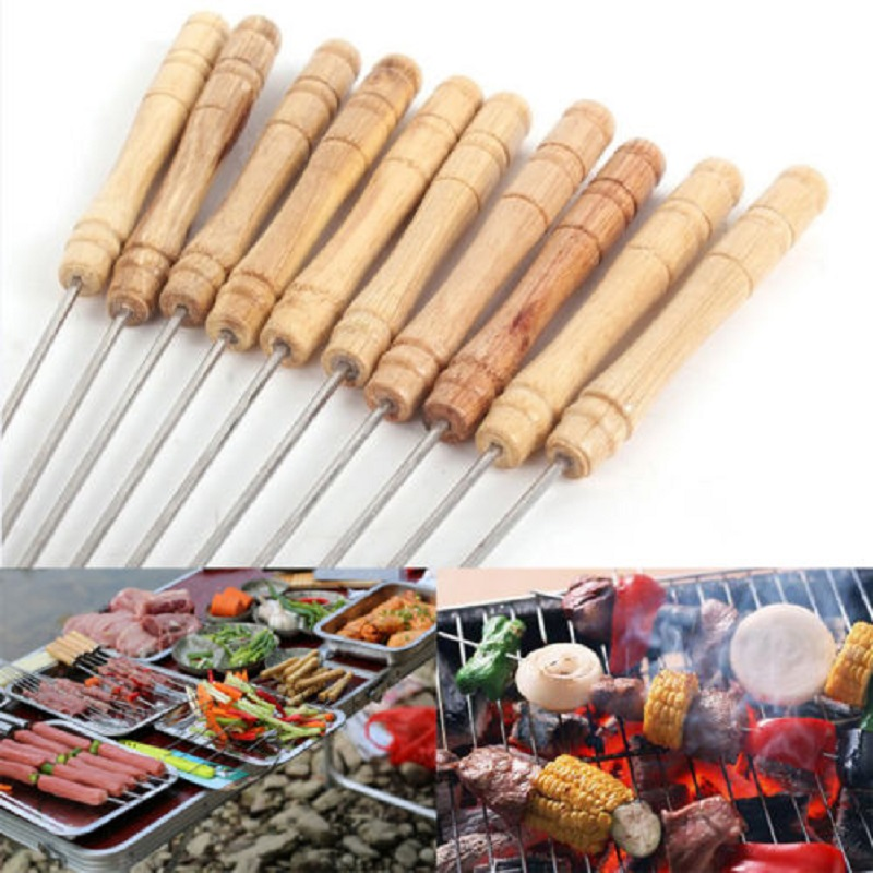 10pcs/set BBQ Barbecue Skewers Stainless Steel Sticks Wooden Handle BBQ Tool