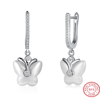 Discount 100 925 Sterling Silver Crystal Wedding Ceramic Earring With Big Carat Rhinestone Butterfly Earring For