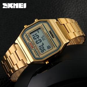 Image 4 - SKMEI montre de Sport pour hommes, bracelet en acier inoxydable, affichage, 3 bars, montre numérique étanche, décontracté, LED