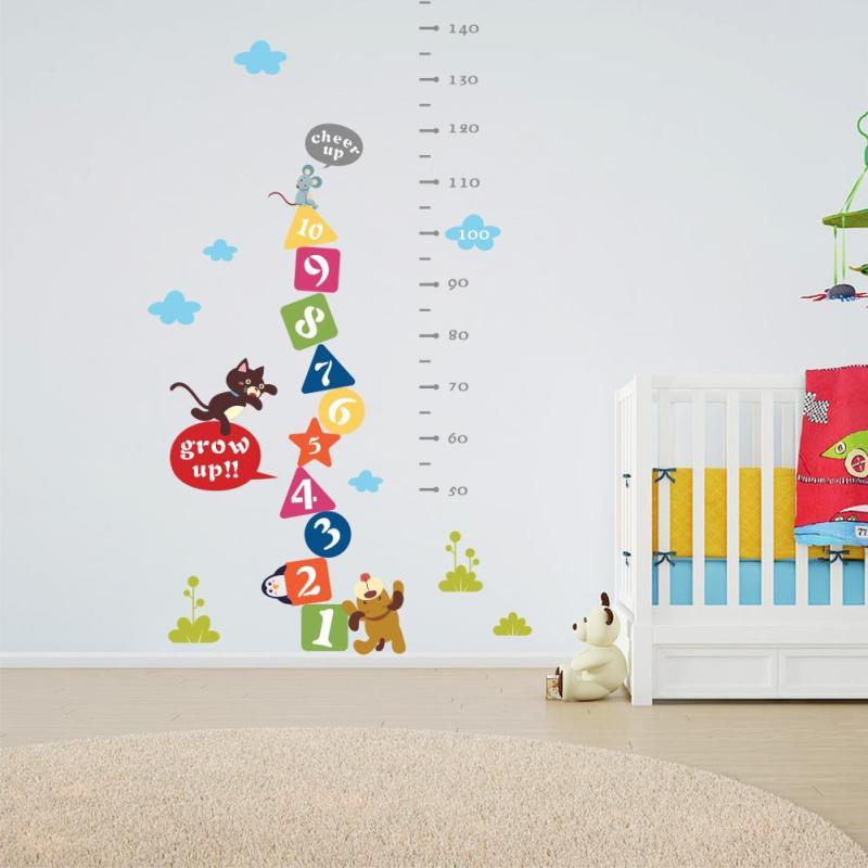Children Bedroom Cartoon Body Height Decoration Wall Stickers Kindergarten Poster Decor Home Baby Growth Ruler