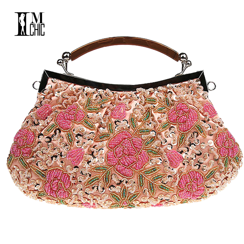 цены Embroidery Beaded Women Clutch Bag Vintage Flower Sequins Evening Party Handbags Wedding Bridal Tote Bags Handmade Women Bag