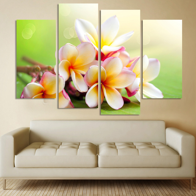 Modern Flower Paintings Canvas Art Prints 4 Piece Home Wall Decor Picture Sets For Living Room