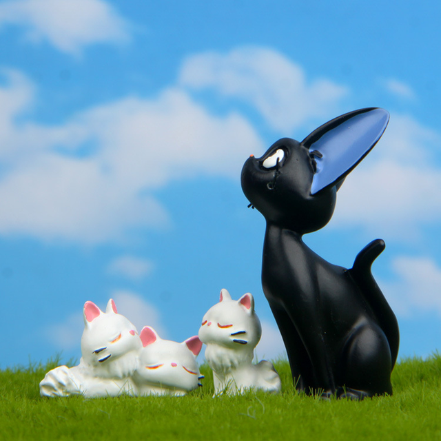 Resin Jiji's Delivery Service Cat Figurines White Animal Ornaments Black Cat Kiki Gigi Miniatures Fairy Garden Decoration Crafts 3