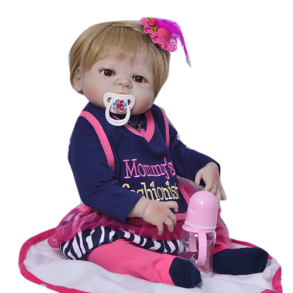 Realistic Full Silicone Vinyl Reborn Baby Dolls 23 Lifelike Girl with Blonde Hair for Kids XMAS Gift Dolls Newborn Baby Toys ucanaan 20 50cm reborn doll hair rooted realistic baby born dolls soft silicone lifelike newborn toys for girls xmas kids gift